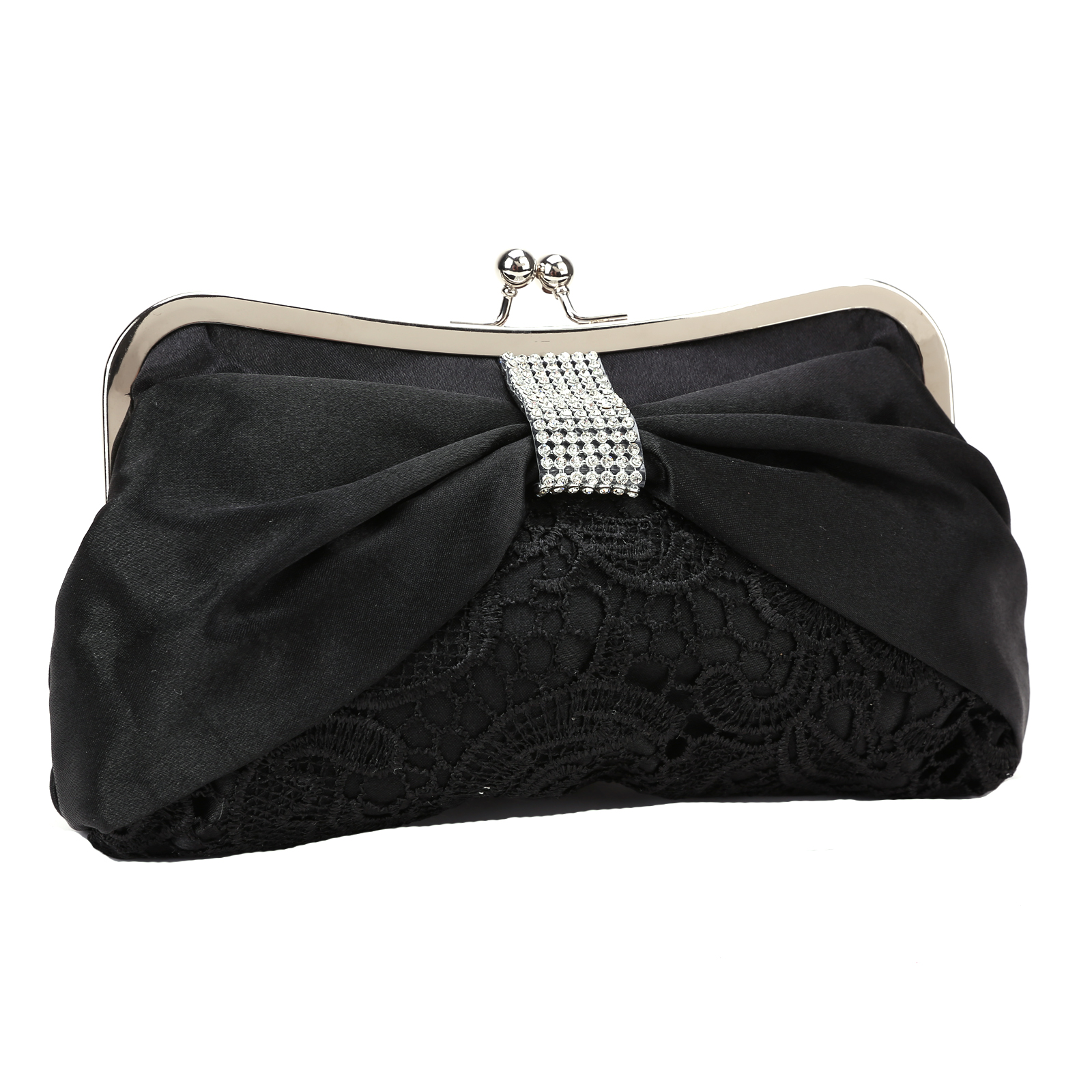 Ladies Diamante Satin Bow Lace Clutch Bag Wedding Evening Purse Bag Black | EBay