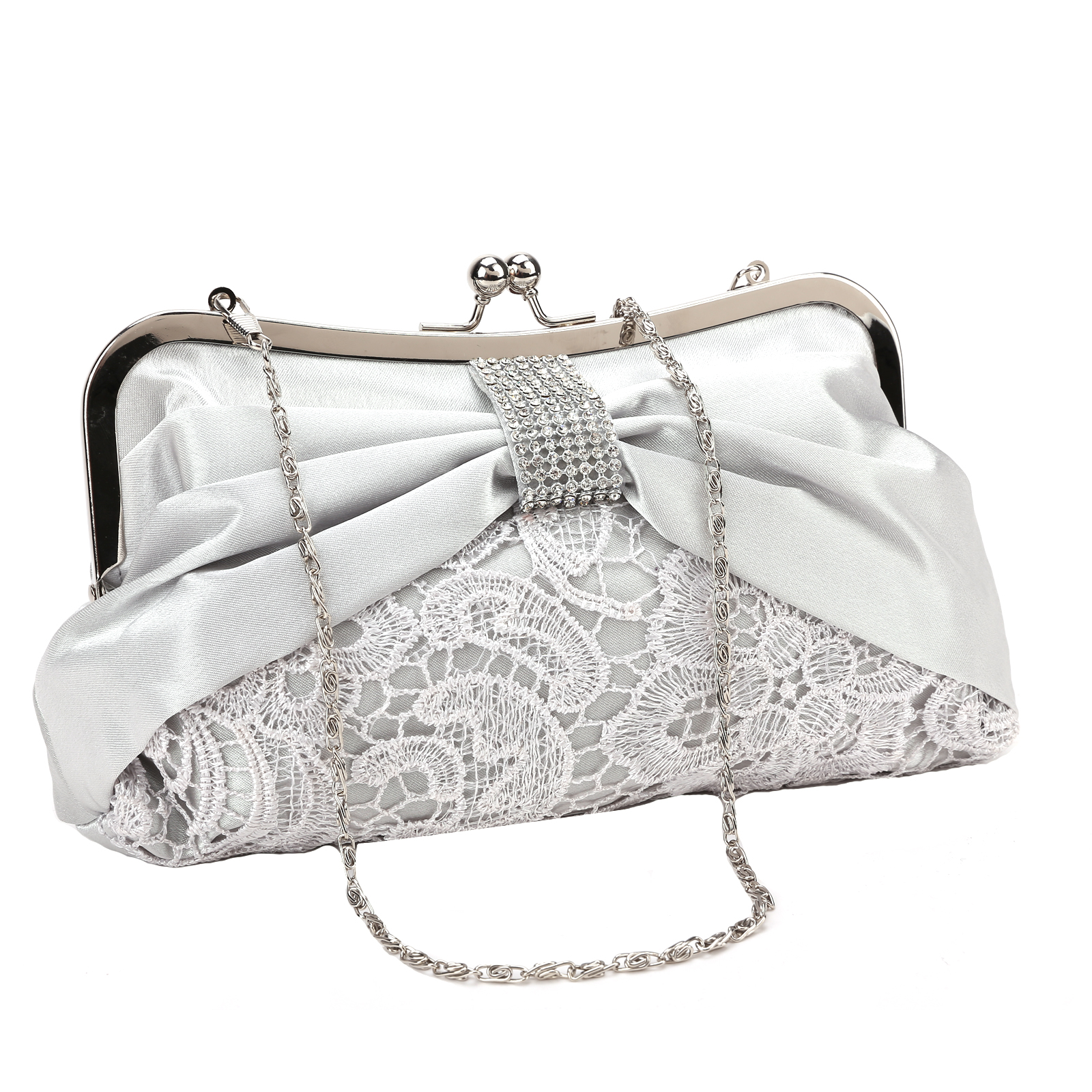 Ladies Diamante Satin Lace Wedding Bridal Clutch Bag Evening Handbag Phone Purse