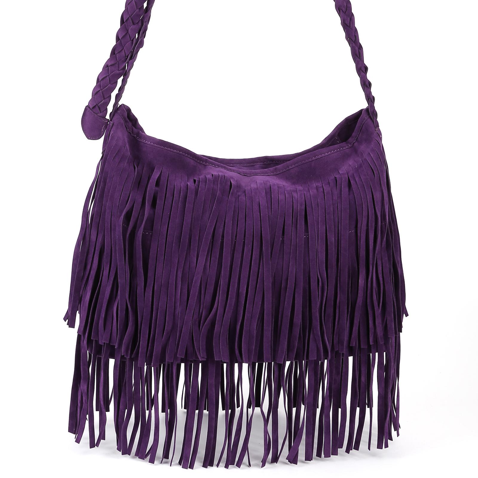 purple fringe tassel faux suede shoulder messenger cross body handbag ...