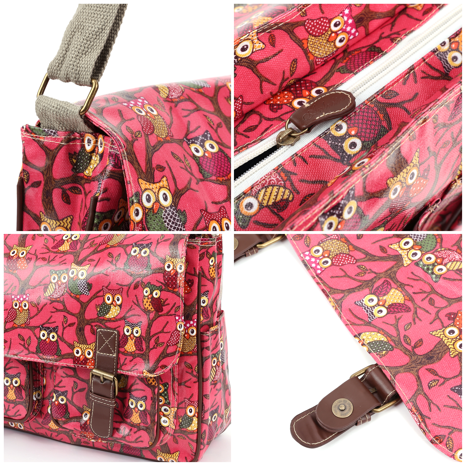 Cartoon owl print red oilcloth shoulder bag canvas strap for Au maison oilcloth uk