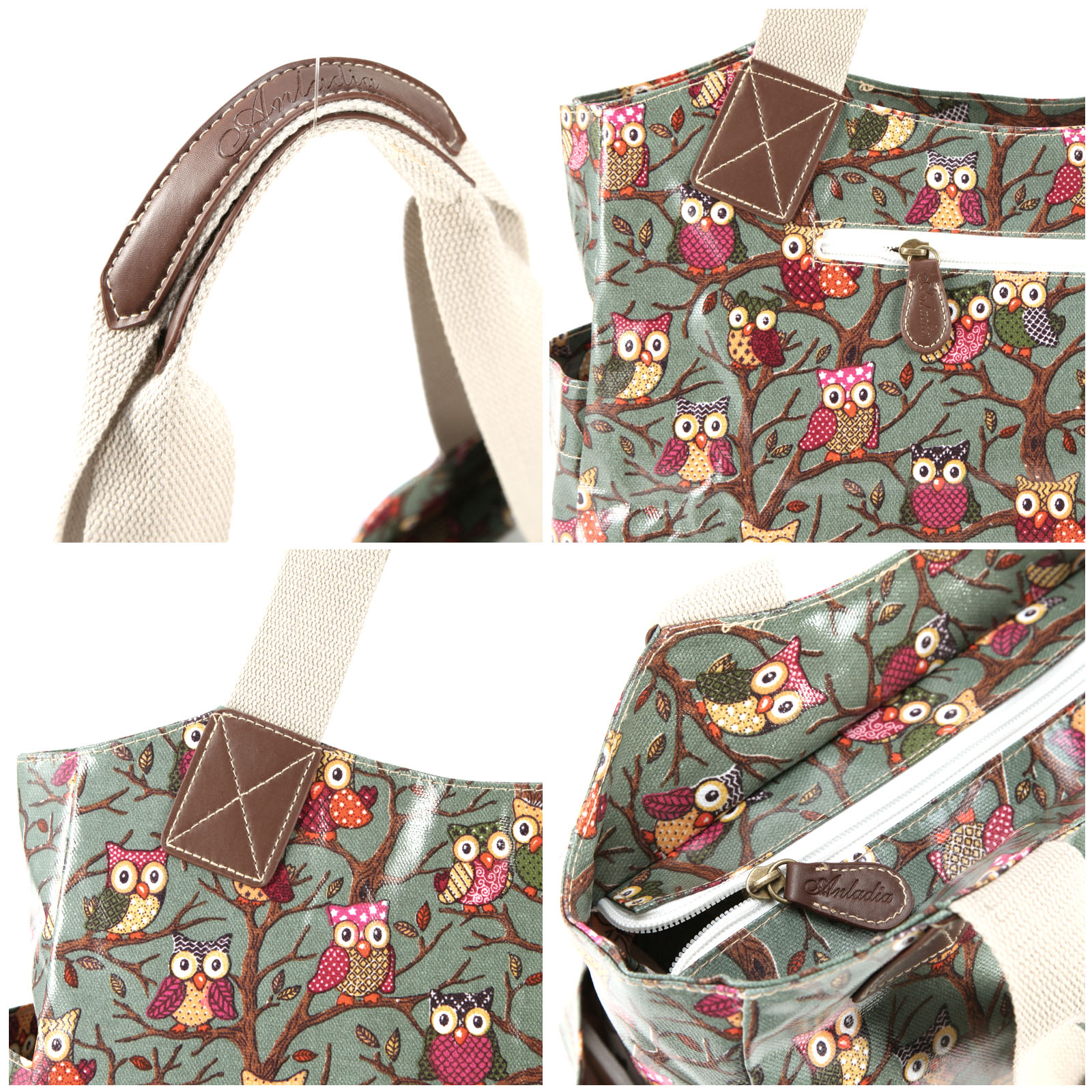 Ladies owl print designer oilcloth shoulder bag tote for Au maison oilcloth uk