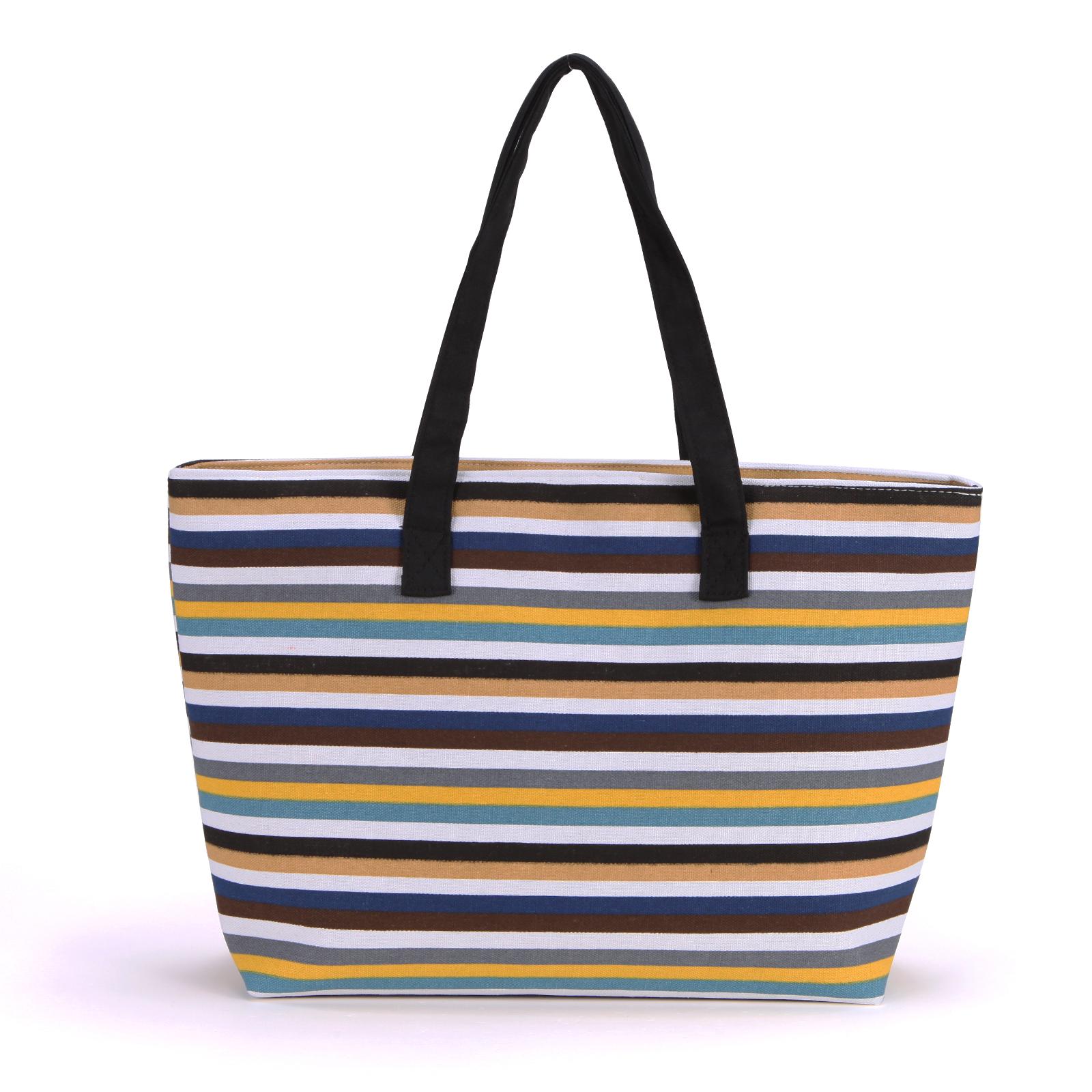 Cartoon print designer canvas shoulder bag tote shopper for Designer beach bags and totes