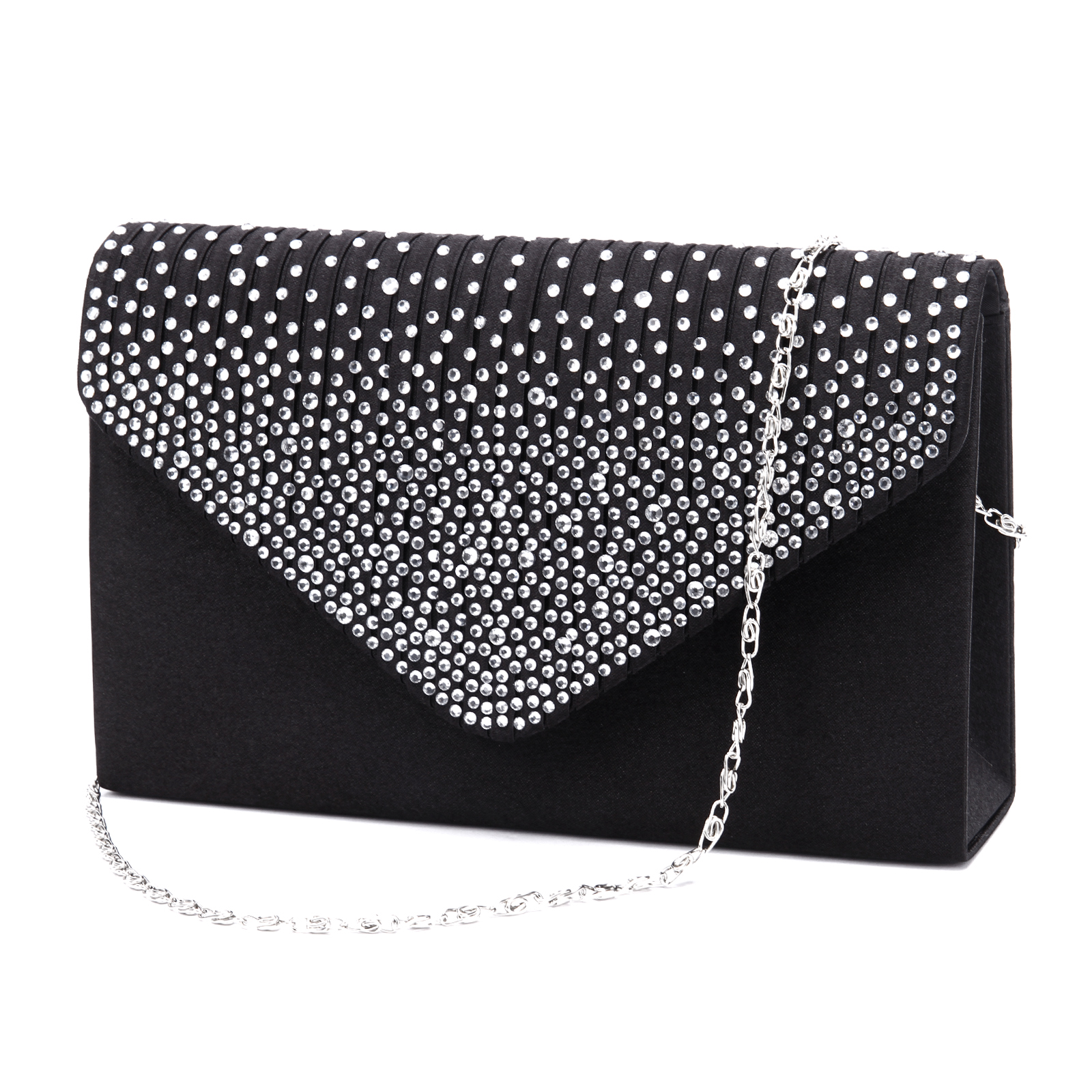 Large Ladies Evening Satin Bridal Diamante Clutch Bag Prom Envelope Handbag   EBay