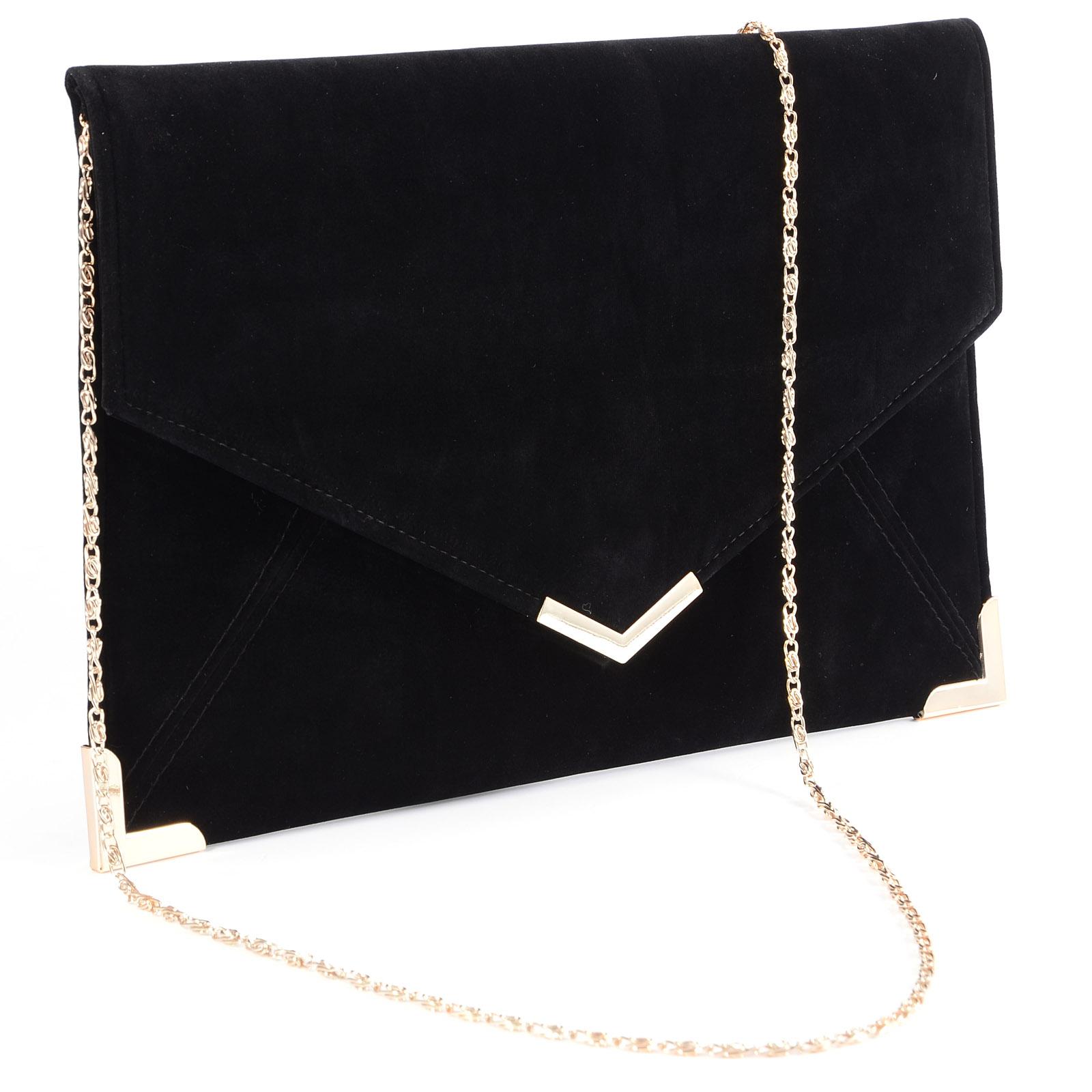Velours Pochette Mariage Soiree Sac À Main Enveloppe Chaine Bandouliere Velvet Clutch Bag tFBPID