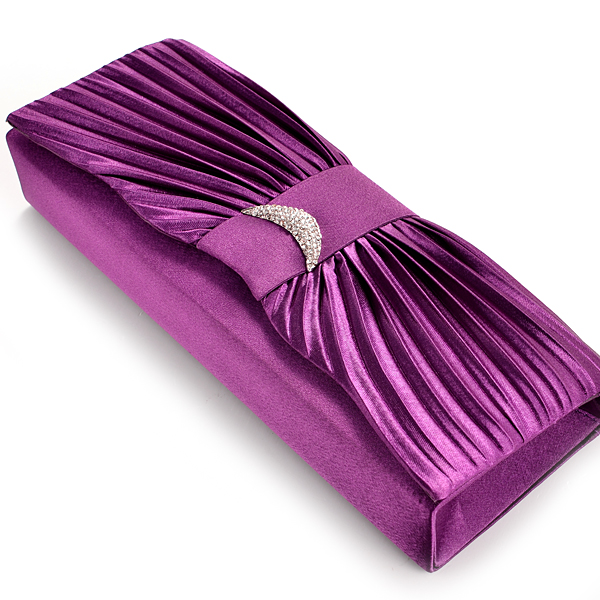 SATIN DIAMANTE EVENING PROM BRIDAL WEDDING CLUTCH BAG HANDBAG 6