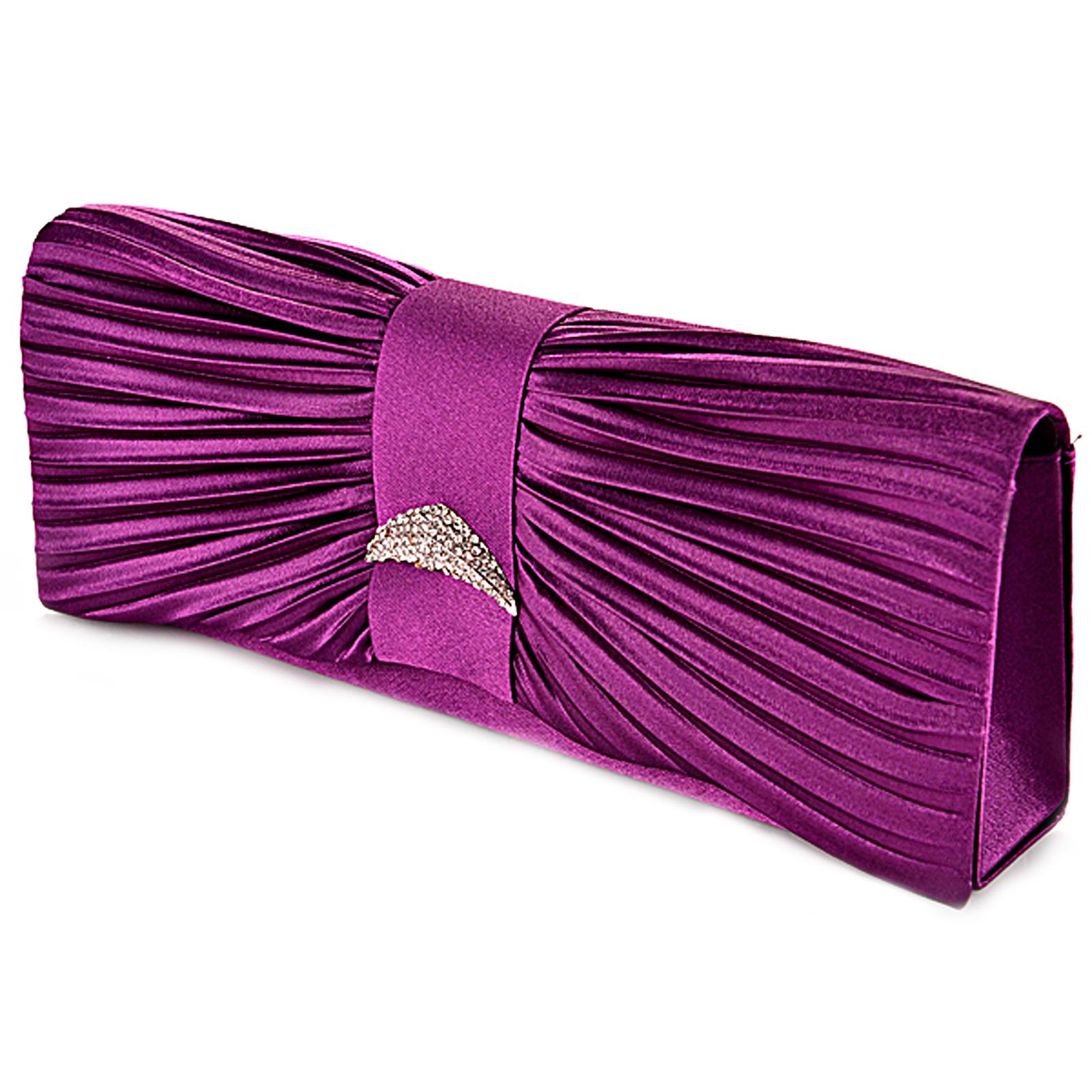 Ladies Satin Diamante Evening Clutch Wedding Prom Bridal Clutch Bag Handbag | EBay