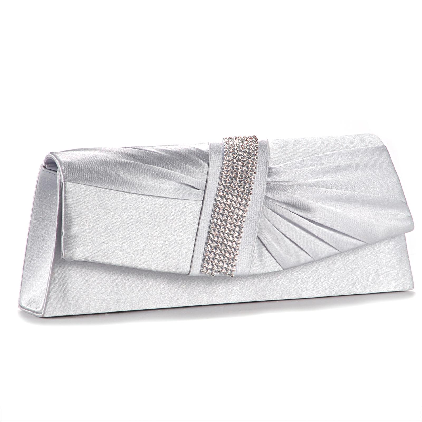 Silver Diamante Satin Pleated Women Bag Evening Bridal Clutch Bag Handbag Purse | EBay