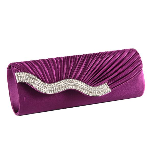 Clutch-Abendtasche-Brauttasche-Damen-Handtasche-Satin-Wellen-Strass-Hochzeit-Bag