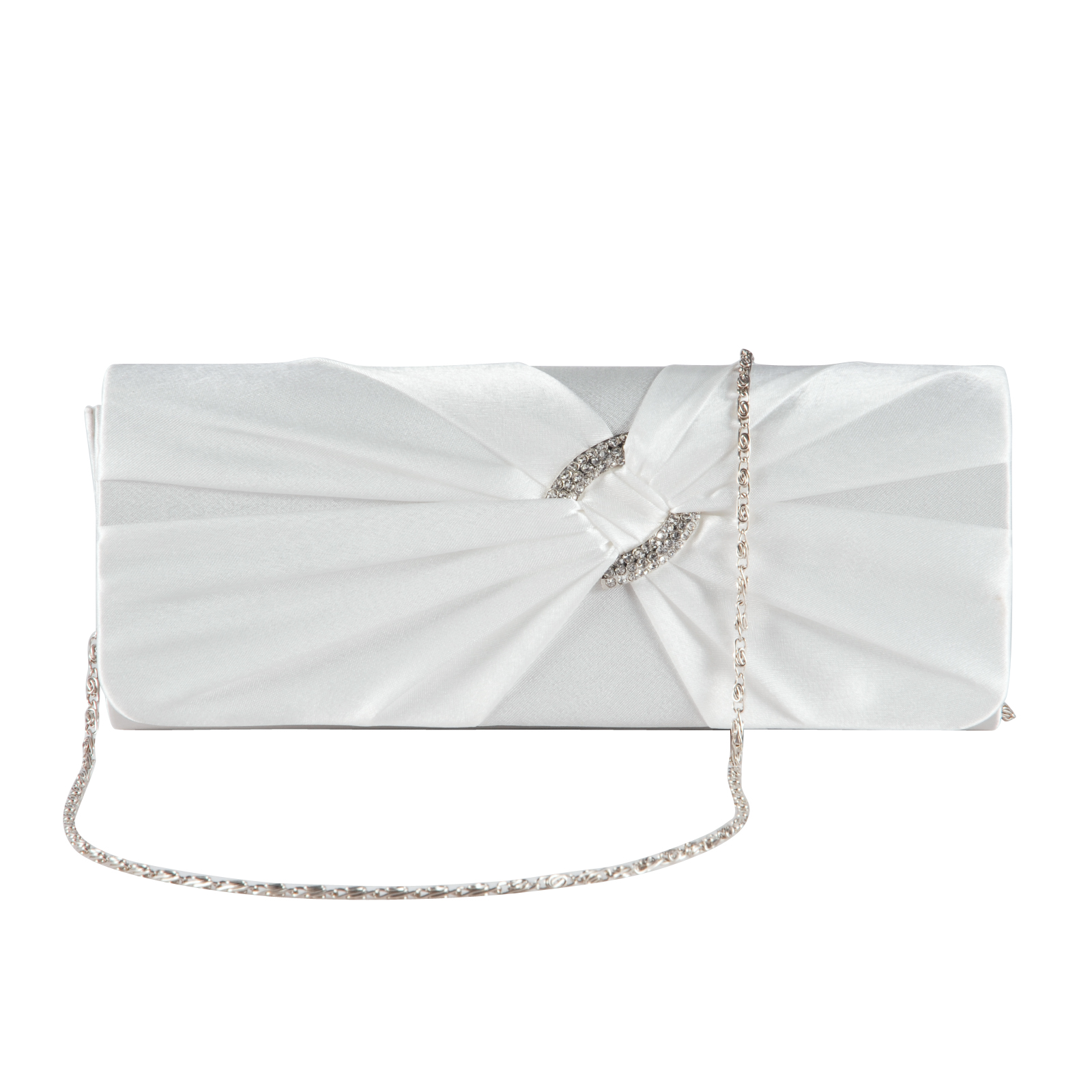 Ivory White Satin Diamante Pleated Evening Clutch Bag Bridal Wedding Party Prom | EBay