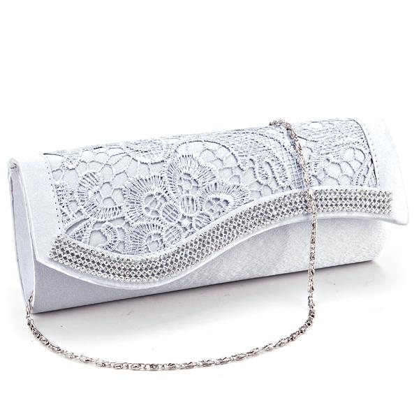 Damentasche-Abendtasche-Brauttasche-Spitze-Satin-Clutch-Bag-Party-Hochzeit-Neu
