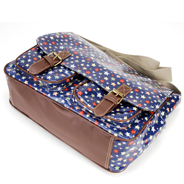 Colorful stars buckle pocket blue oilcloth shoulder bag for Au maison oilcloth uk