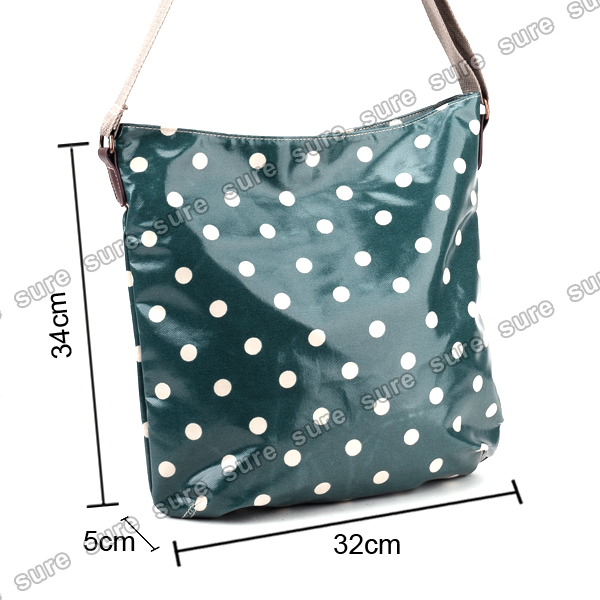 Girls womens oilcloth polka dots messenger bag across body for Au maison oilcloth uk