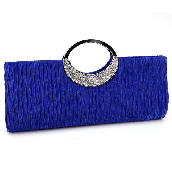 royal blue diamante ring frill wedding clutch bag