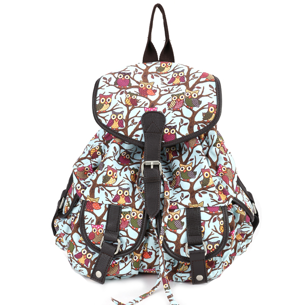 Cartoon Owl Light blue Canvas Backpack Rucksack School Bag Bookbag 4 ...