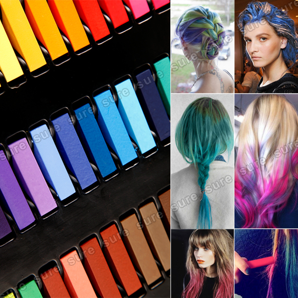36x coloration cheveux teinture craie crayon temporaire coiffure pro ebay. Black Bedroom Furniture Sets. Home Design Ideas