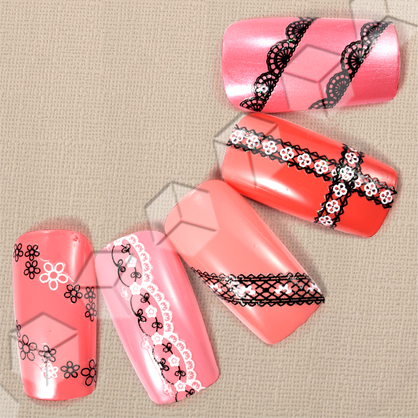 25 Sheet Lace Style Nail Art 3D Stickers French Tips Decoration UK