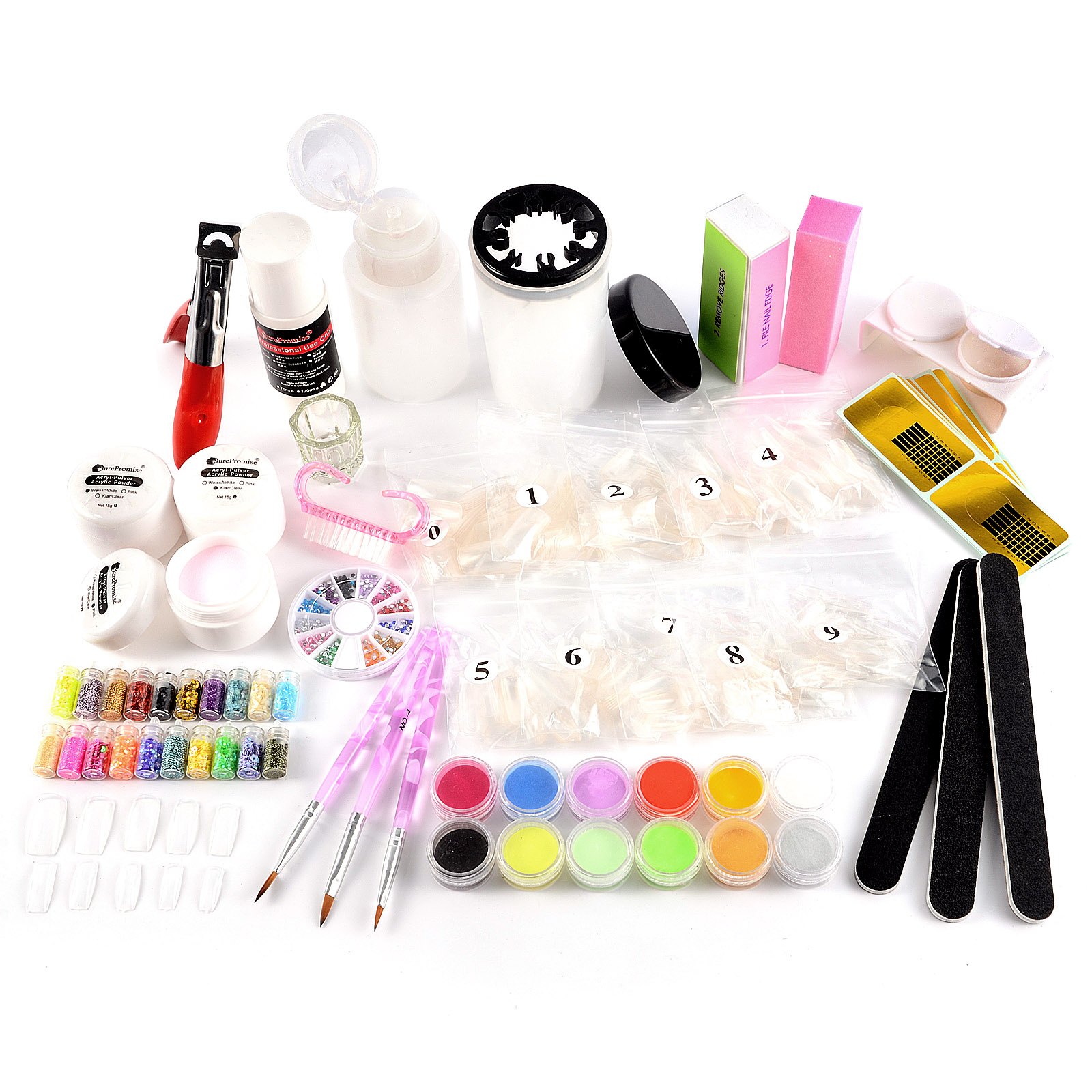 acryl starter set nail art pulver pinsel fl ssigkeit buffer puder nagel tips ebay. Black Bedroom Furniture Sets. Home Design Ideas