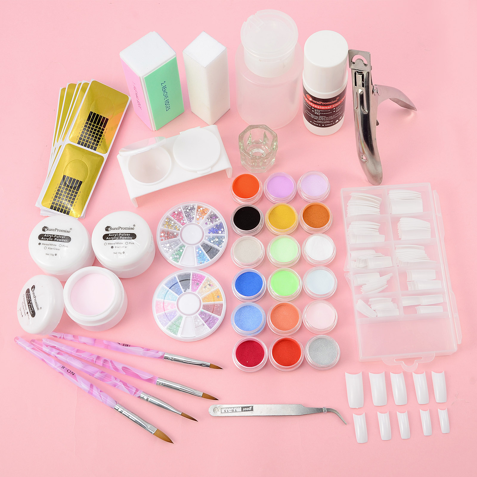 Nail Art Starter Kit: 14in1 Nail Art Starter Kit Acrylic Liquid Color Powder