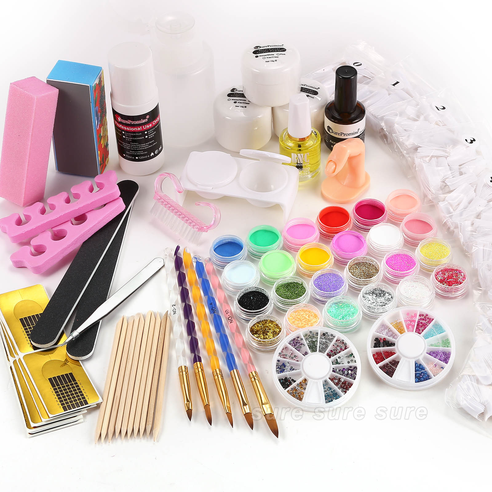 acryl starter set pulver liquid primer nageltips stra stein glitter pinsel feile ebay. Black Bedroom Furniture Sets. Home Design Ideas