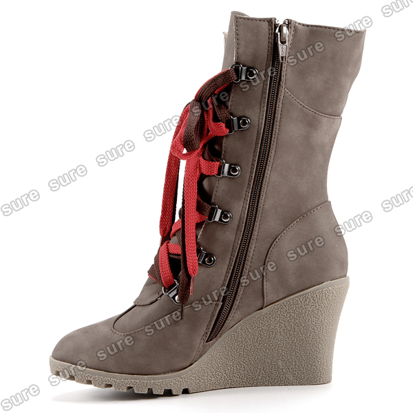 boots lace up combat shoes mid calf wedge