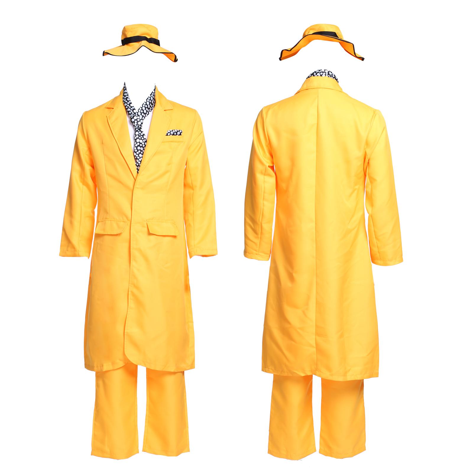 Men 90s Fancy Dress The Mask Jim Carrey Costume Yellow