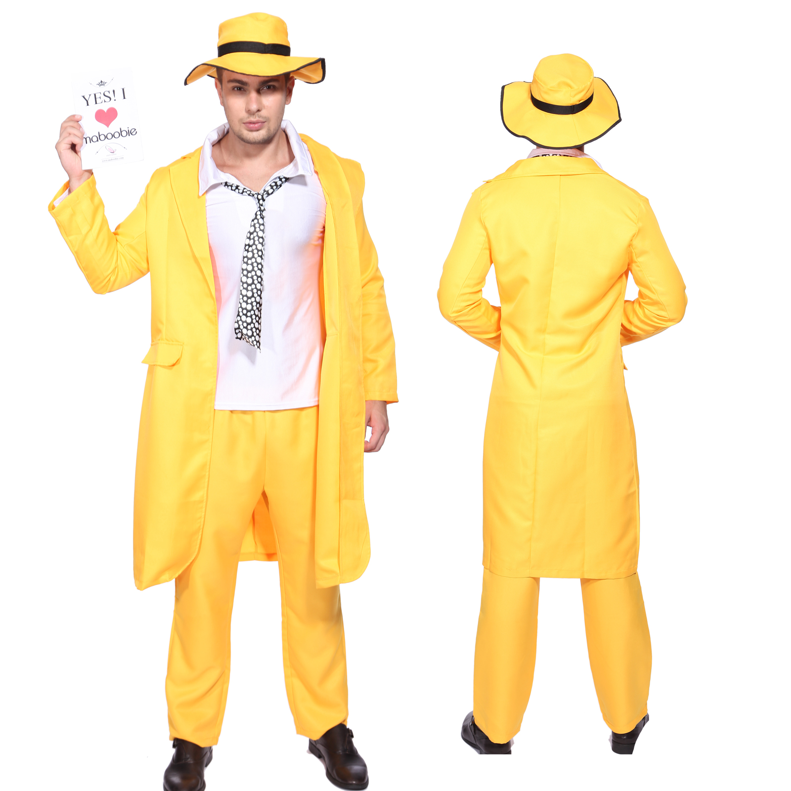 Men 90s Fancy Dress The Mask Jim Carrey Costume Yellow ... Zoot Suit The Mask