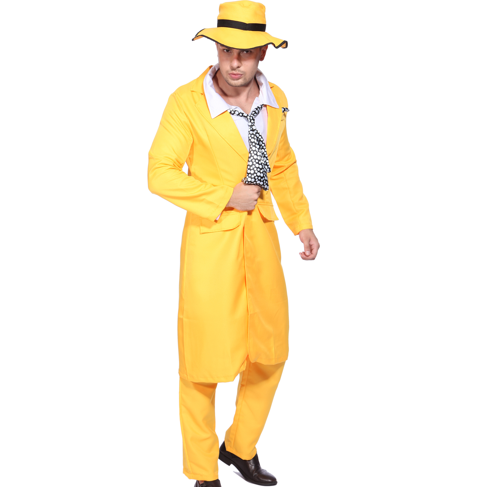Mens 90s Yellow Gangster Zoot Suit The Mask Jim Carrey ... Zoot Suit The Mask