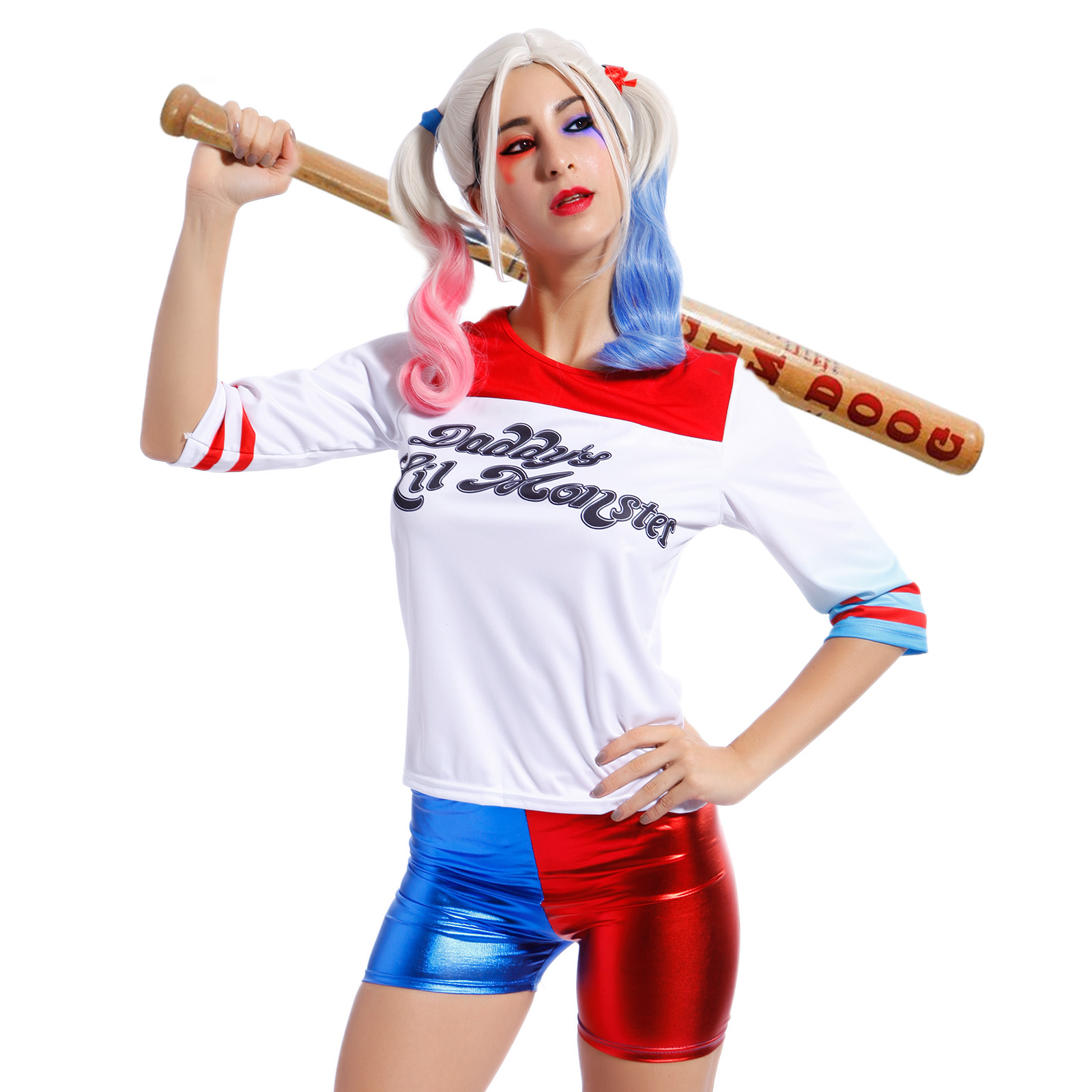 59b51147c438 Ladies Harley Quinn Cosplay T-shirt Suicide Squad Daddy's Lil Monster Top  Wigs