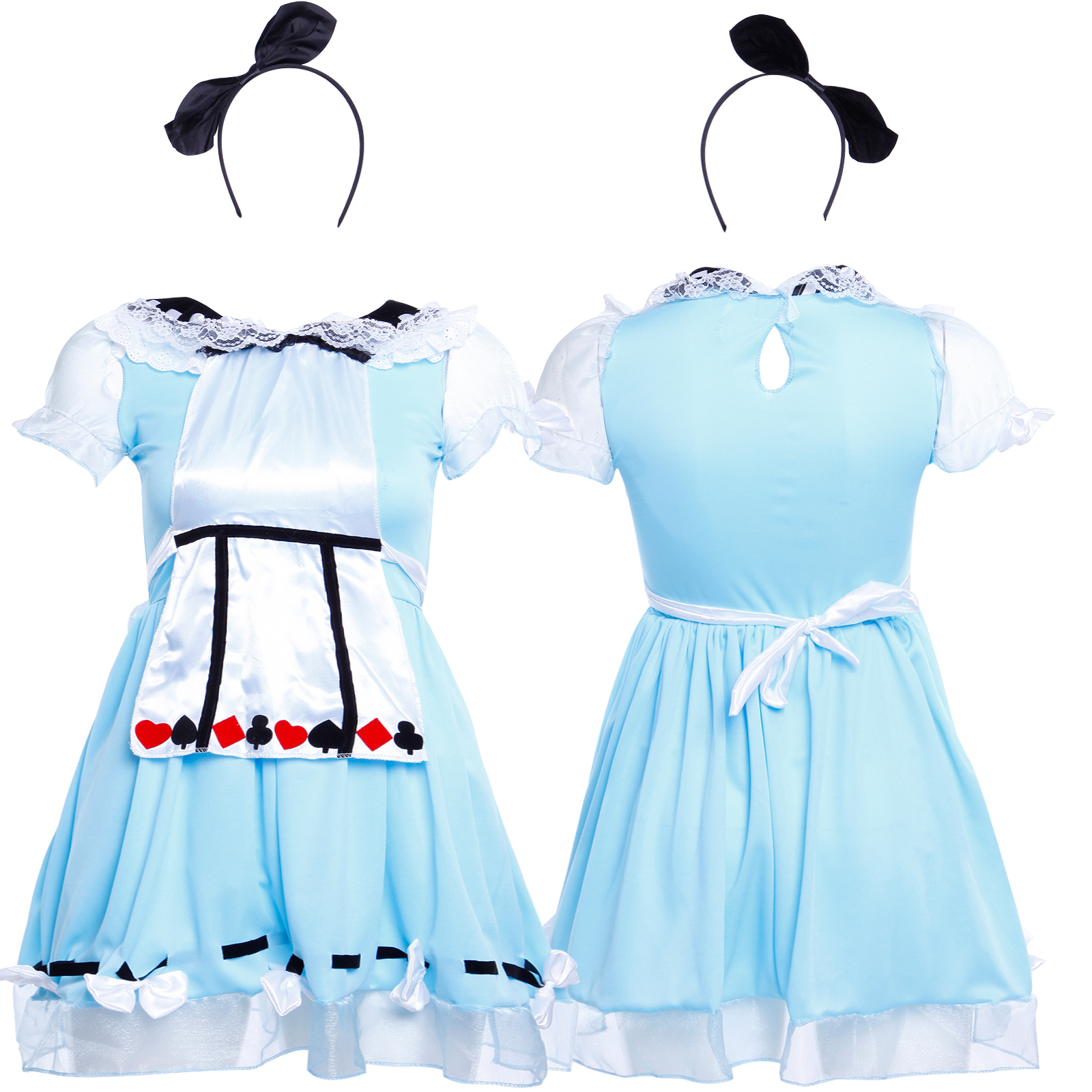f851e10b1f34 Details about Alice in Wonderland Girl Kid Fancy Dress Maid Lolita Costume  Cosplay Outfits Set
