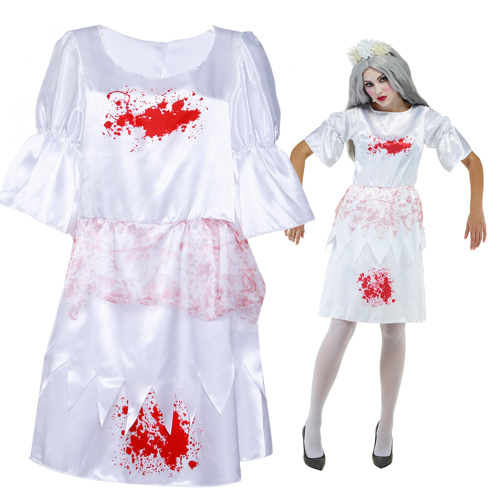 zombie kost m blutige lolita puppen dirndel kleid dienstm dchen halloween ebay. Black Bedroom Furniture Sets. Home Design Ideas