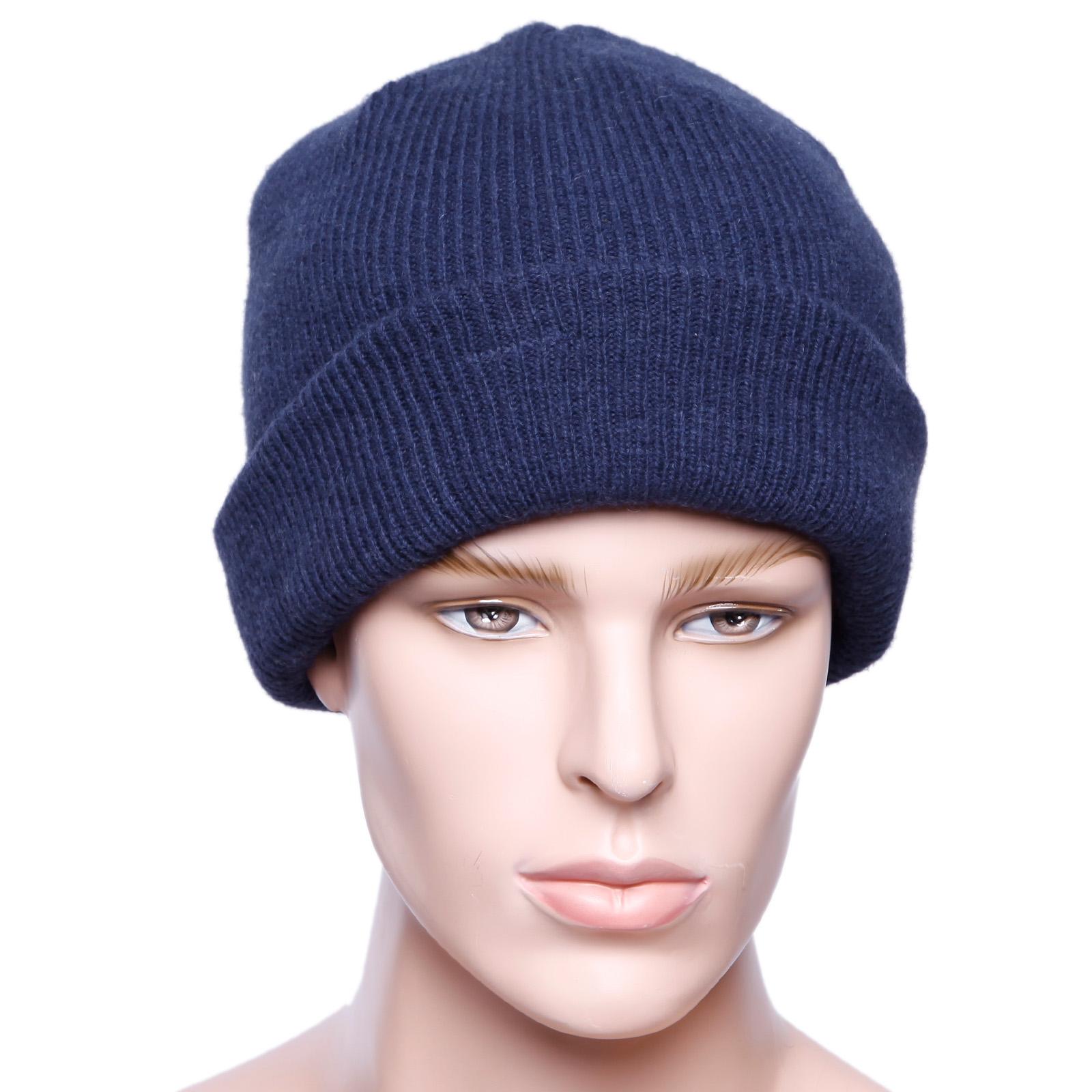 8be4f875d54f7 Gorro Tejido 100% Lana para Hombre Negro Azul Gris Casual para Otoño  Invierno