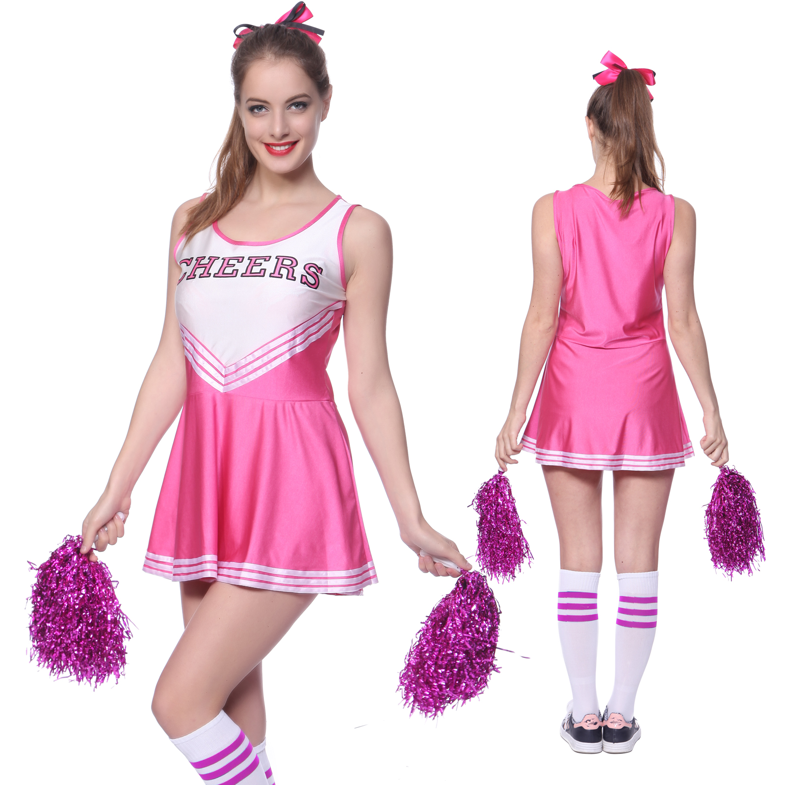 Picture 13 of 13  sc 1 st  eBay & Girls School Cheerleader Costume Dress Cheer Uniform Party Outfit W ...