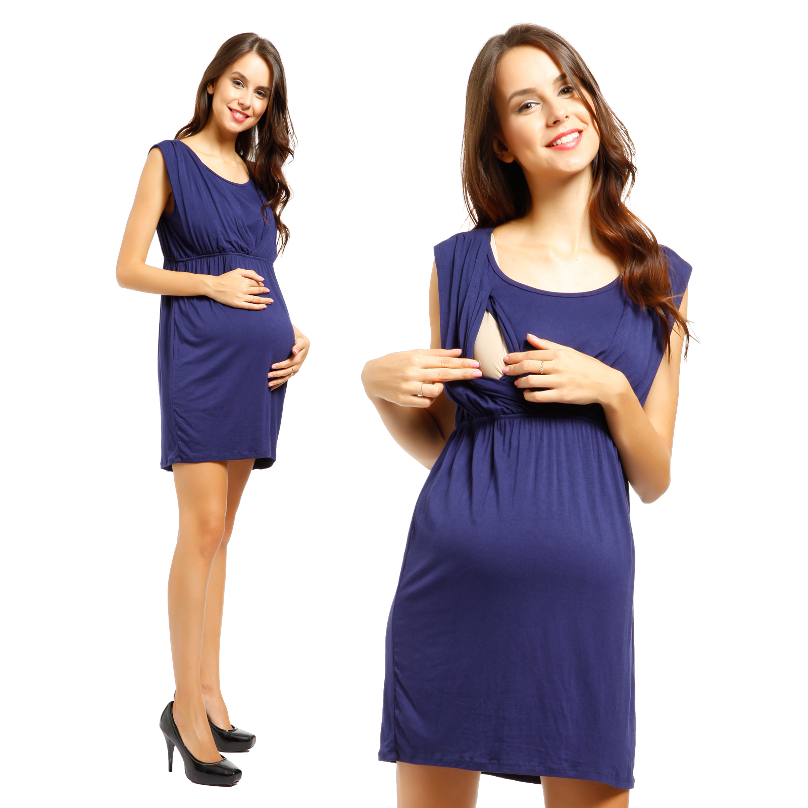 Pregnant Maternity 2in 1 Clothes Nursing Tops ...