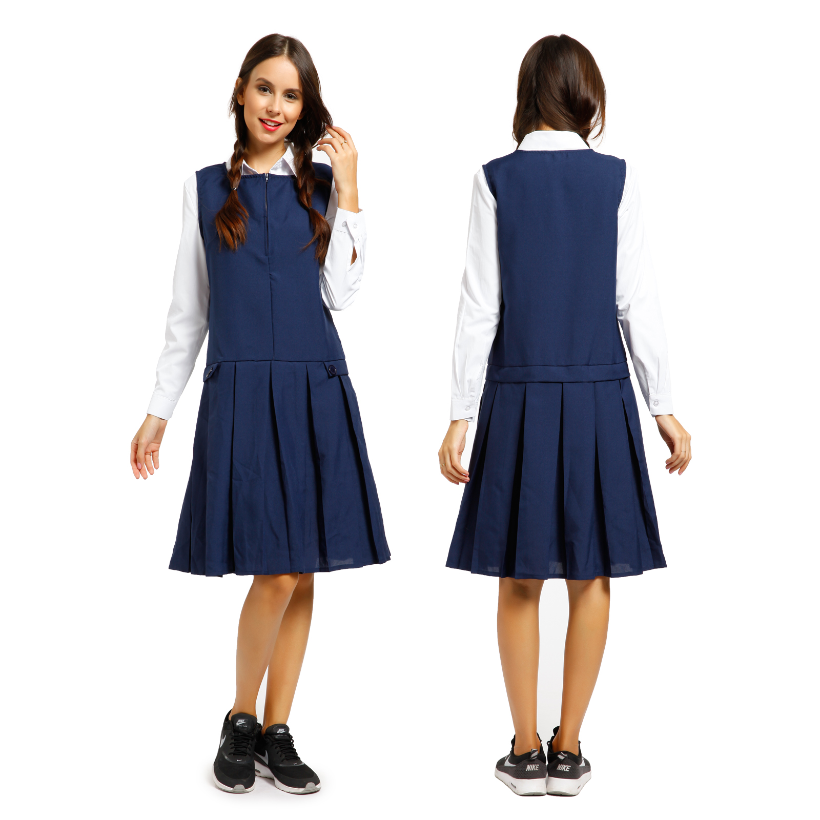 Girls School Uniform School Wear Sleeveless Zip Front Pleated ...