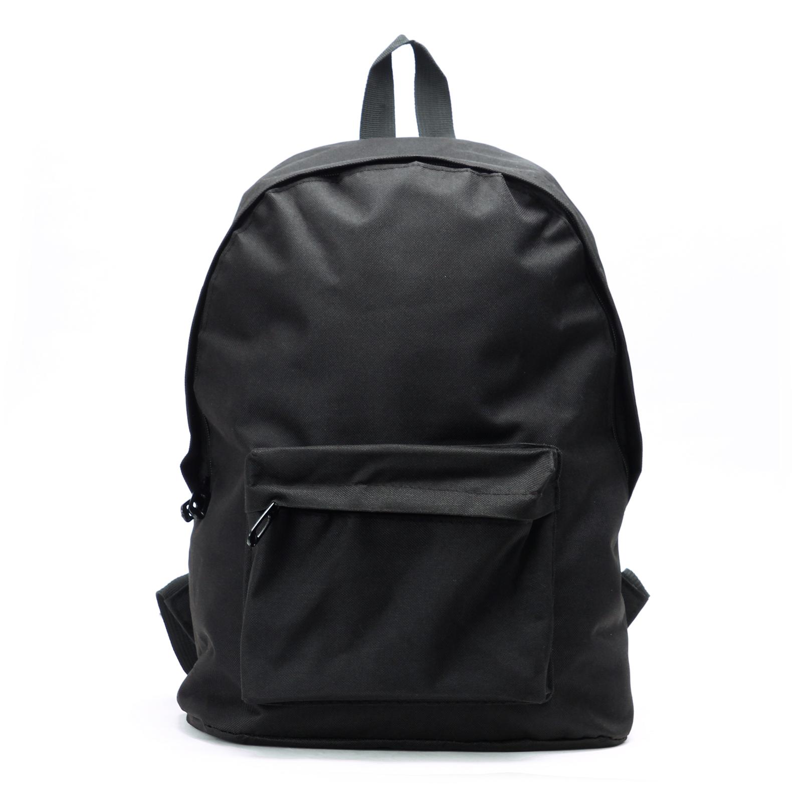 Black Retro Backpack Mens Womens Boys Bag School College Urban ...