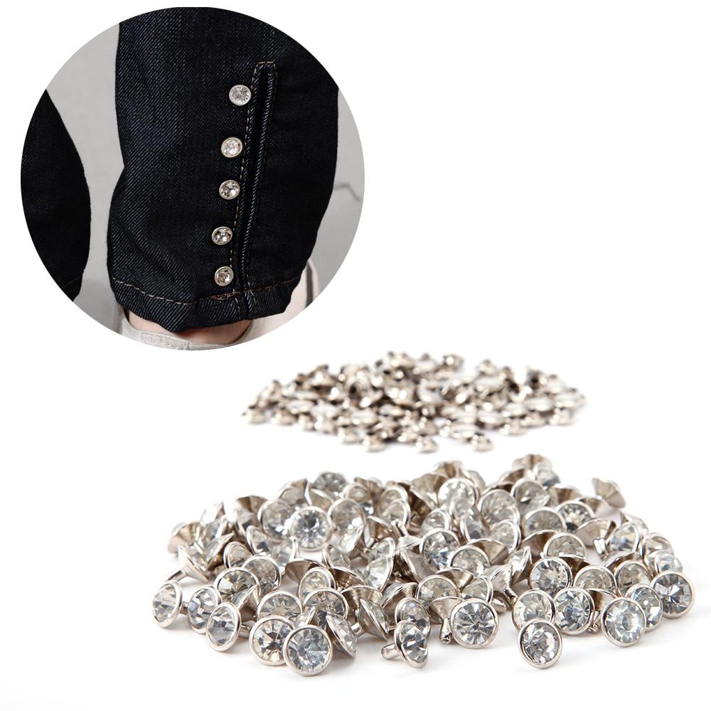 100 x 7mm 10mm Diamante Rivet Stud Leather Craft Spots Rock Punk Spike Jeans Hat