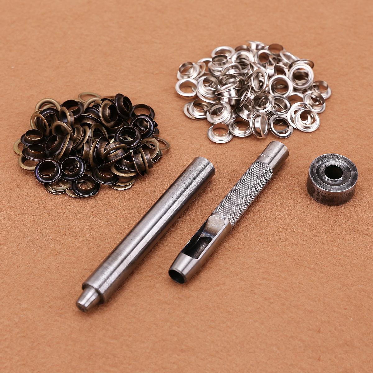 8mm Eyelet Leather Setting Tool Kit Hole Punch with 50 Eyelets Washers