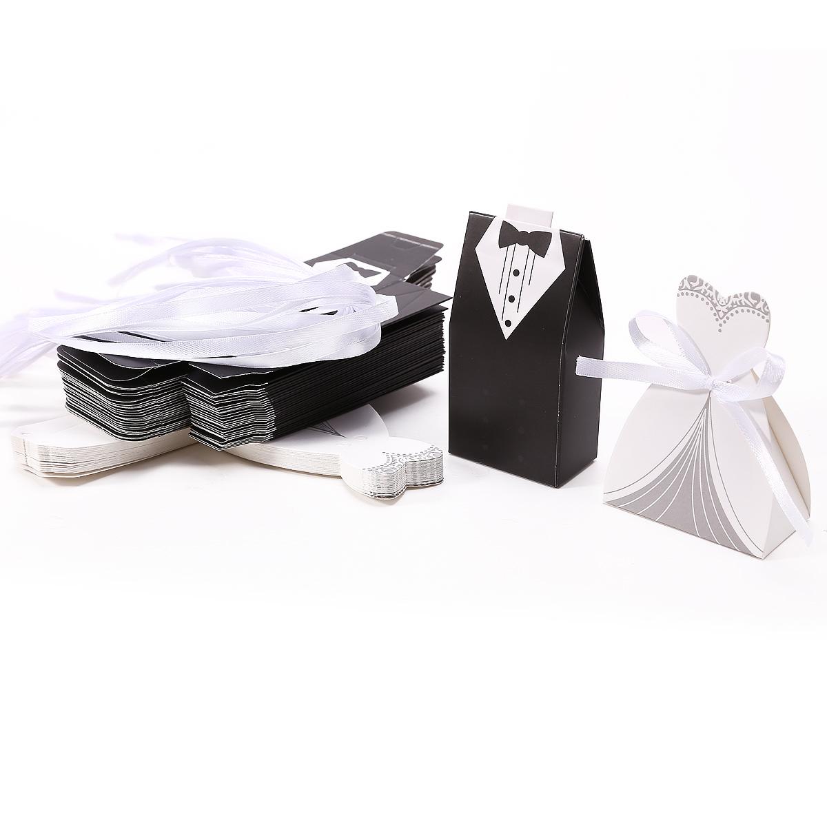 50 x Hochzeitsdeko weiß Bonboniere Box Geschenkbox Geschenkschachtel Kartonage