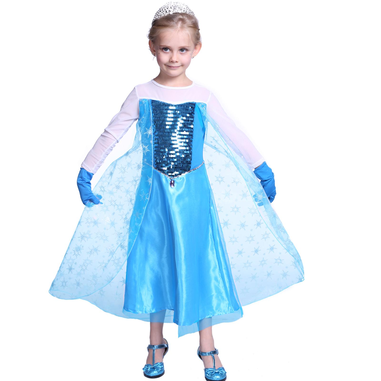 Kids Girls Queen Frozen Elsa Anna Costume Christmas Cosplay Party ...