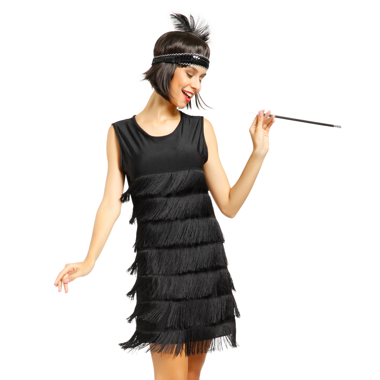 eeffc7f74d Flapper Women Dancing Dress Roaring 20s Gatsby Charleston Carnival Costume  Black