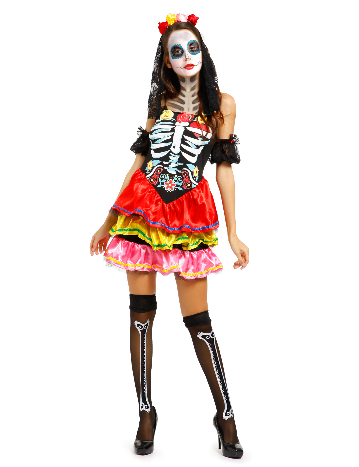 Womens Halloween Day of the Dead Skull Costume Ladies Horror Fancy Dress Outfit