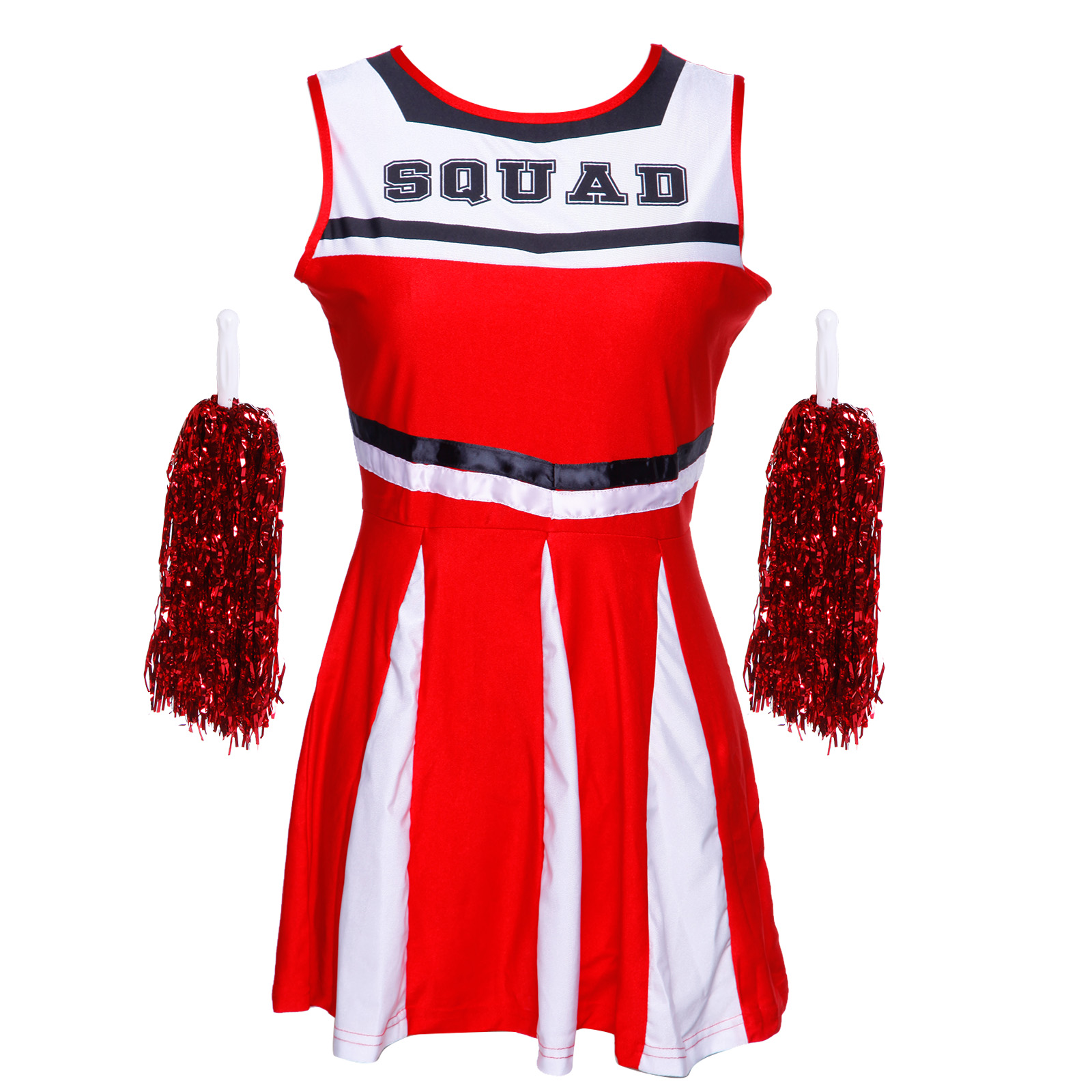 Cheerleader-Fancy-Dress-Outfit-High-School-Musical-Cheer-Uniform-Costume-Pompoms miniature 3