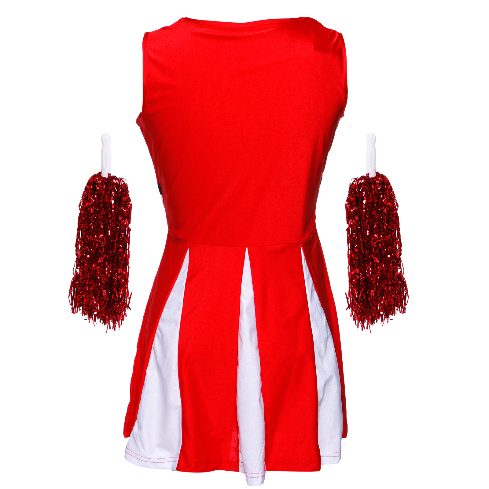 Cheerleader-Fancy-Dress-Outfit-High-School-Musical-Cheer-Uniform-Costume-Pompoms miniature 4