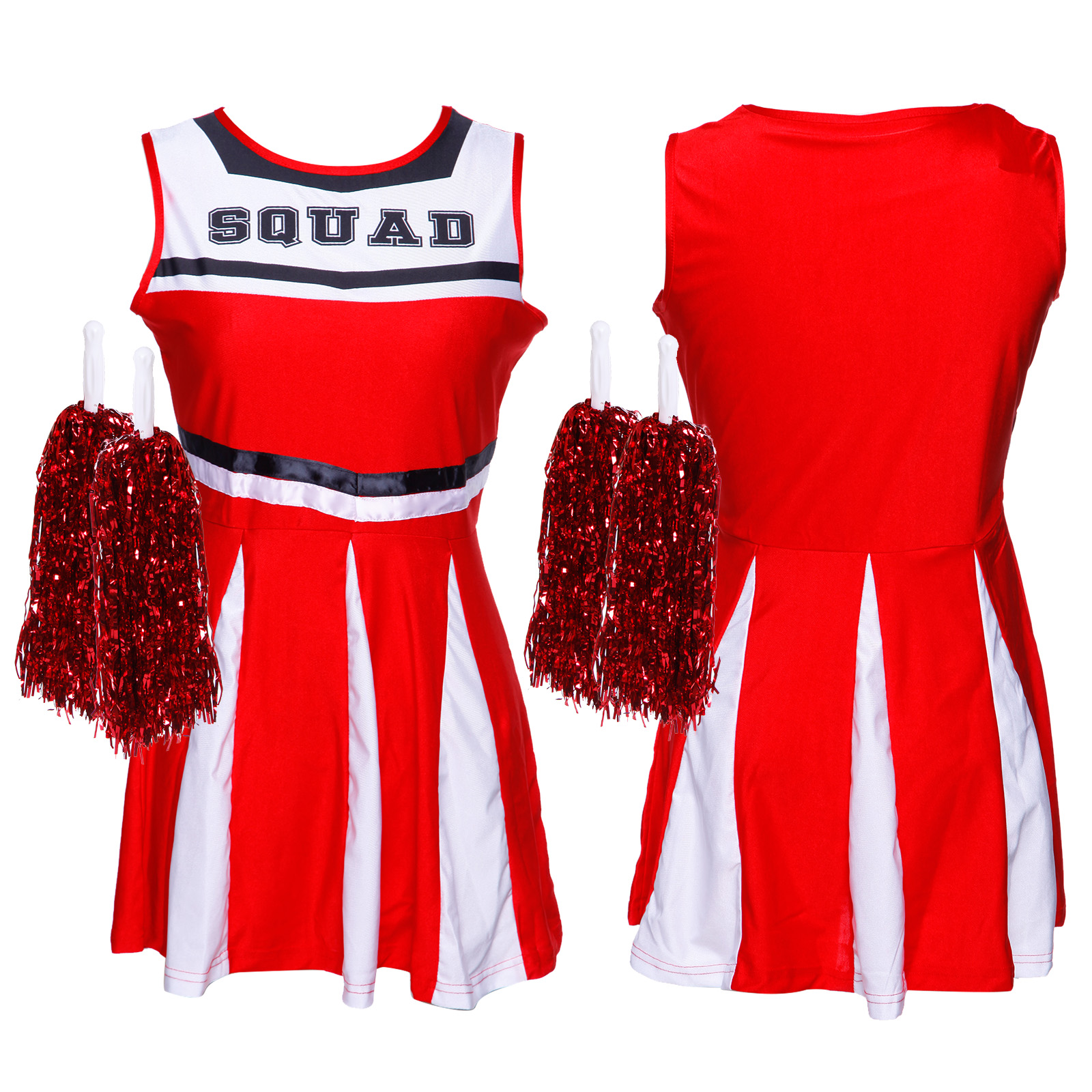 Cheerleader-Fancy-Dress-Outfit-High-School-Musical-Cheer-Uniform-Costume-Pompoms miniature 5
