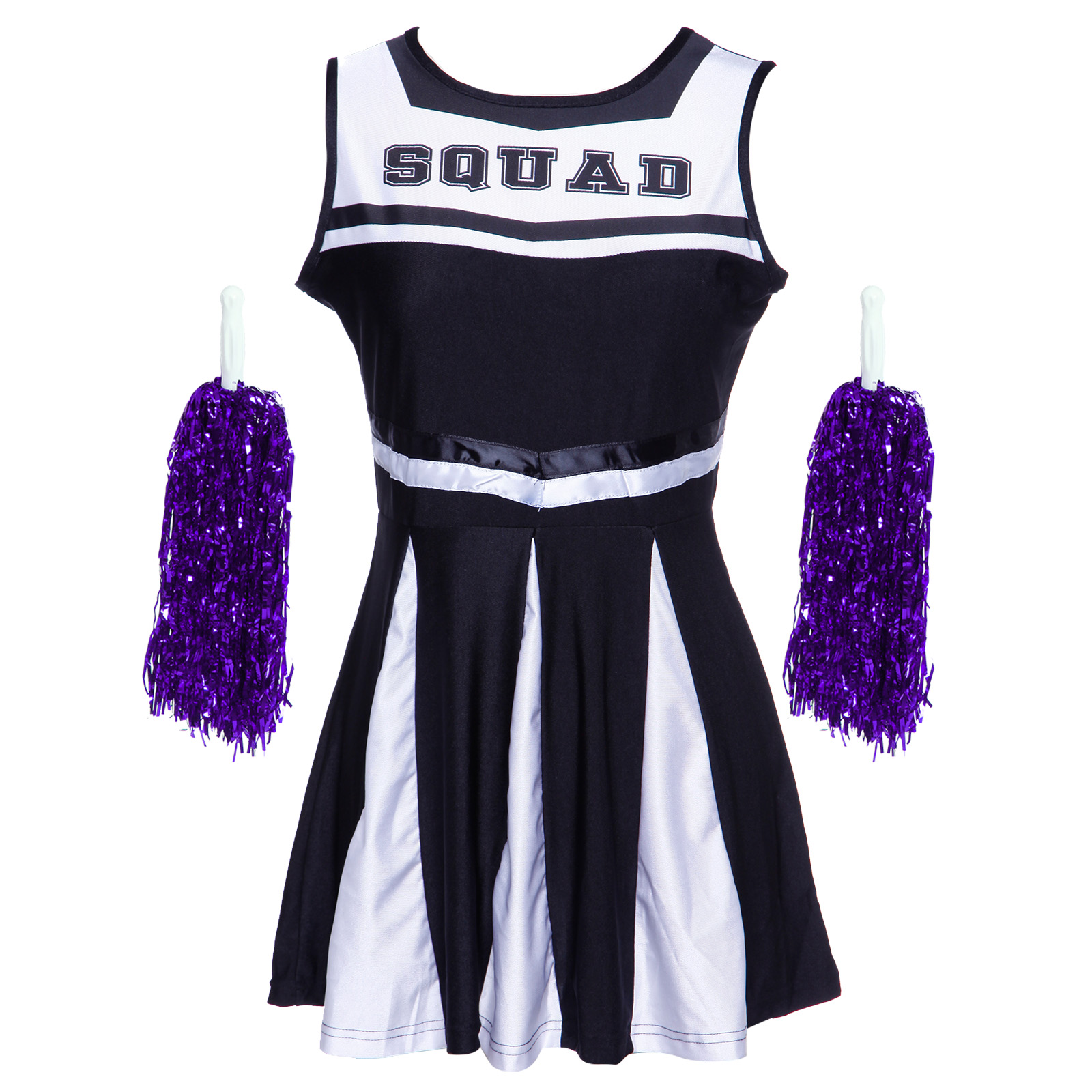 Cheerleader-Fancy-Dress-Outfit-High-School-Musical-Cheer-Uniform-Costume-Pompoms miniature 7