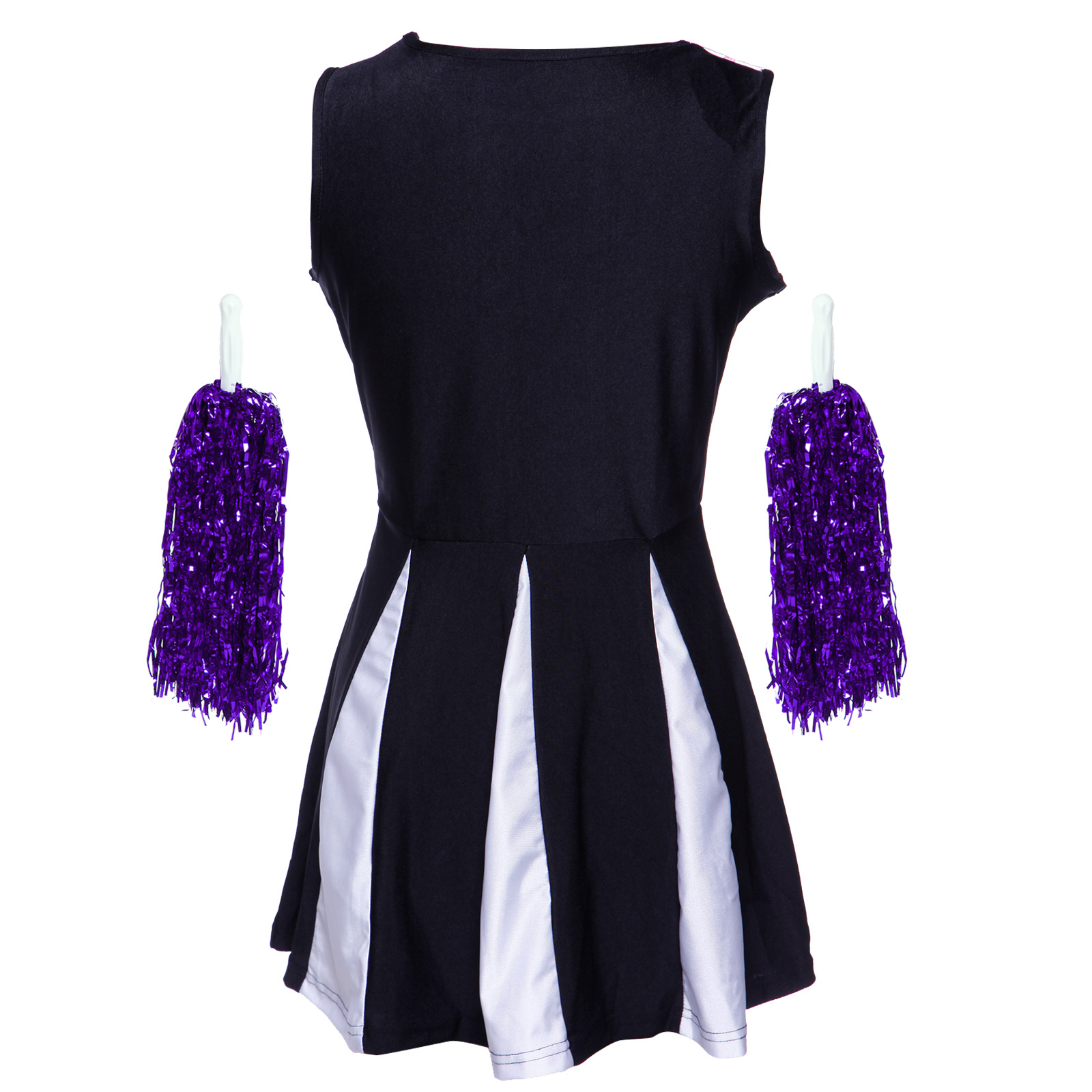 Cheerleader-Fancy-Dress-Outfit-High-School-Musical-Cheer-Uniform-Costume-Pompoms miniature 8