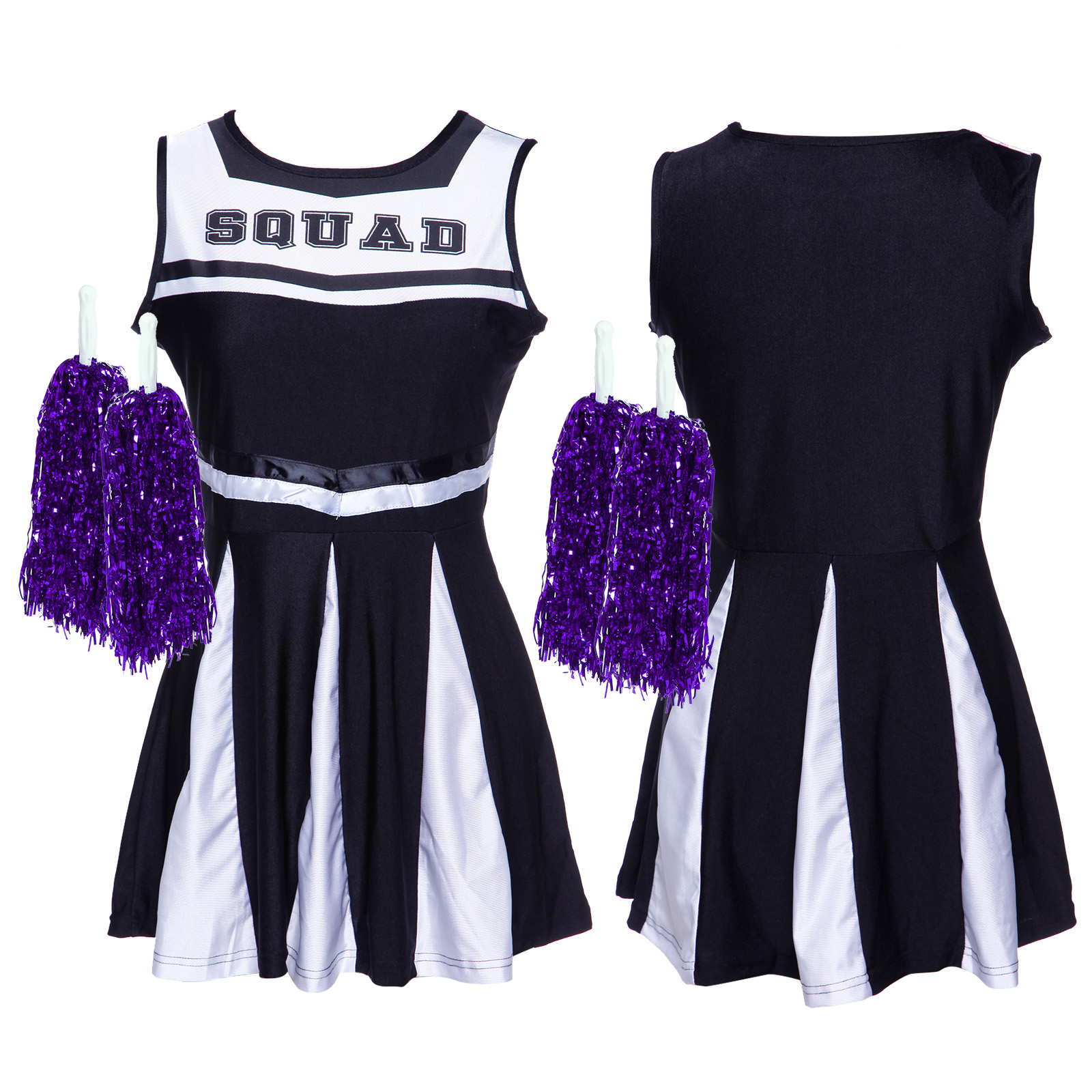 Cheerleader-Fancy-Dress-Outfit-High-School-Musical-Cheer-Uniform-Costume-Pompoms miniature 9
