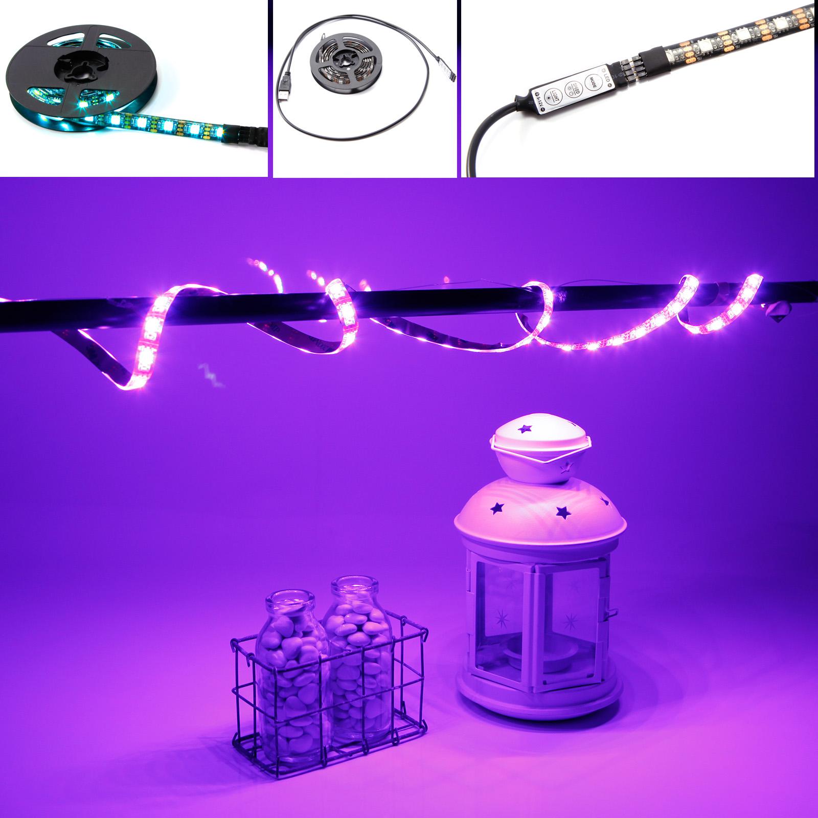 1m led rgb 5050 strip lichter licht leiste band streifen. Black Bedroom Furniture Sets. Home Design Ideas