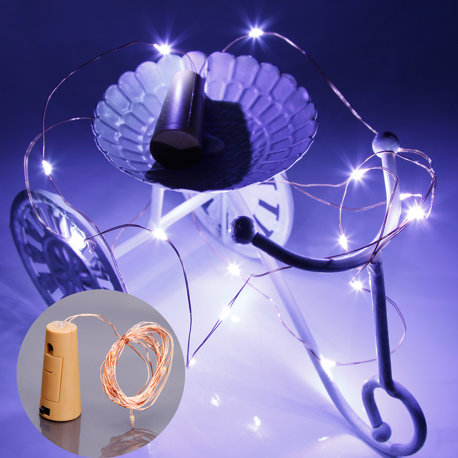 6x flaschenlicht 20 led lightkette lampe kork form lichter kette kaltweiss party ebay. Black Bedroom Furniture Sets. Home Design Ideas