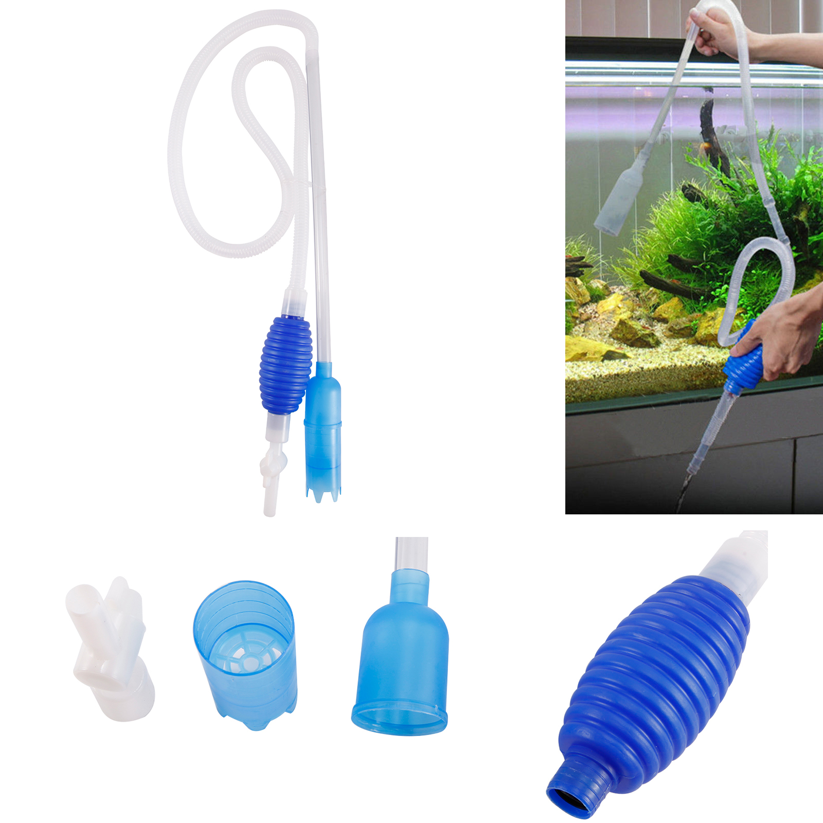 siphon pompe a eau manuel tuyau aspirateur nettoyeur vide gravier aquarium ebay. Black Bedroom Furniture Sets. Home Design Ideas